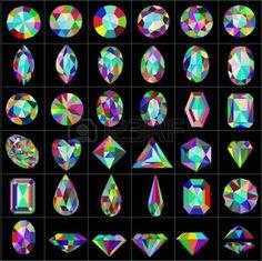 ensemble illustration de pierres pr�cieuses et artificielles de diff�rentes coupes photo