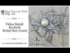 "VIDEO- Rhinestone & Pearl Flower Bridal Hair Comb ""Rochelle"" by Hair Comes the Bride ~ #bridalhairaccessories #bridalcomb #bridalhaircomb"