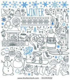 Art Print: Winter Season Themed Doodle Set - Snowflakes, Icicles, Classic Ornaments, Knitted Wear, Winter Spor by primiaou : Christmas Doodles, Christmas Drawing, Doodle Drawings, Doodle Art, New Year Doodle, Painting Snowflakes, Winter Drawings, Doodle Icon, Winter Background