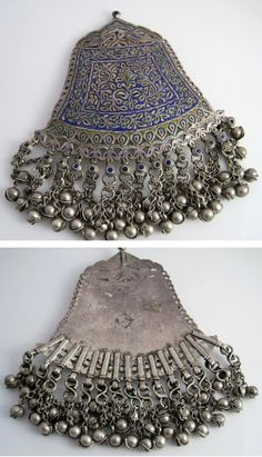 India - Himachal Pradesh | Silver and enamel pendant; once the central piece of a 'chandrasena har' necklace | ca. start of the 20th century