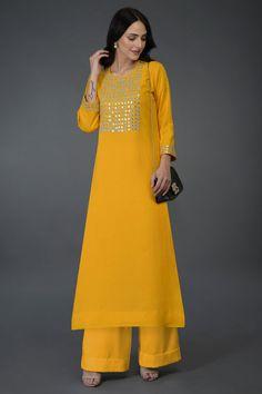 Sunglow Yellow Mirror, Beads & Zari Work Kurta Set Simple Kurta Designs, Stylish Dress Designs, Dress Neck Designs, Kurti Neck Designs, Kurti Designs Party Wear, Stylish Dresses, Casual Dresses, Fashion Dresses, Churidar Designs