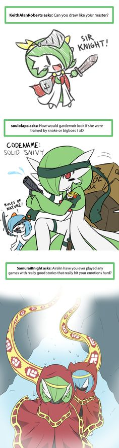 """Ask Airalin by RakkuGuy on DeviantArt. Funny thing is, the first image says """"Sir Knight"""", whereas the Japanese name for Gardevoir is """"Sirknight"""". That can't be a coincidence. Pokemon Comics, Pokemon Funny, Pokemon Memes, Pokemon Fan Art, All Pokemon, Pokemon Stuff, Pokemon Fusion, Gardevoir Comic, Mega Gardevoir"""