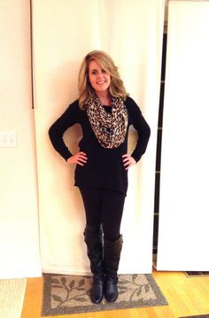OOTD: comfy cozy fall outfit  Leggings, sweatshirt, leopard scarf, boots