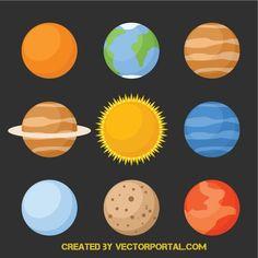 Planets vector icons - Free vector image in AI and EPS format. Vector Icons, Vector Graphics, Free Vector Images, Vector Free, Planet Icon, Aesthetic Galaxy, Planet Vector, Shrinky Dinks, Sistema Solar