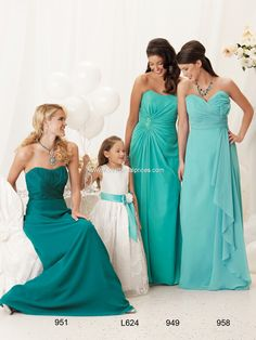 Mix-Match Aqua Blue and Turquoise Bridesmaid Dresses and Flower Girl Dress...I like these styles too