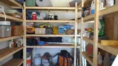 Easy and Inexpensive Storage Shelves for Garage / Shed / Basement, via YouTube.