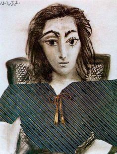 Pablo Picasso - Portrait de Jacqueline, 1957 (looks like on the picture to me . Kunst Picasso, Art Picasso, Picasso Paintings, Georges Braque, Picasso Rose Period, Portrait Picasso, Cubist Movement, Modigliani, Spanish Artists