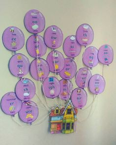 Home ed Lauren phonics balloons Twinkl Class Displays, School Displays, Classroom Displays, Ks1 Classroom, Wooden Christmas Tree Decorations, Christmas Tree Art, Family Tree Designs, Preschool Bulletin Boards, Jolly Phonics