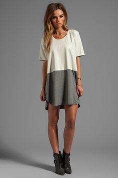 Mason by Michelle Mason Leather Front Tee Dress in Grey/Bone in Grey & Bone | REVOLVE