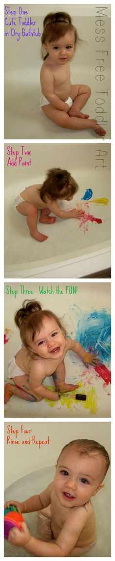 Mess free toddler art - paint in the tub will keep them busy and happy for a very long time!