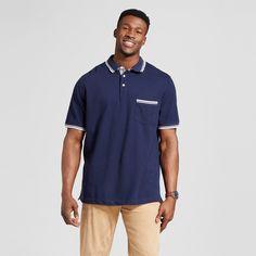 Men's Big & Tall Tipped Collar Club Polo Shirt Navy (Blue) 5XB Tall - Merona