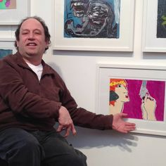 "Steven Ajzenberg with his artwork - ""Come on make my day""."