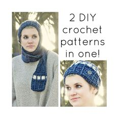 2 PDF Crochet Patterns, TARDIS Doctor Who inspired beanie w scarf & pocket cozy, All sizes, DIY epattern, Sci Fi Fantasy Geekery. $6.50, via Etsy.
