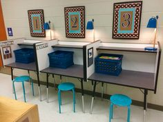 Picture-only but what a great example of a way to set up independent work stations in a special ed. class!!