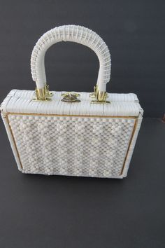 Vintage White Beaded Wicker Handbag - 1950s Rattan Purse - Made in Hong Kong - Summer Fashion Accessories - Gift Idea - Costume Easter Purse by shabbyshopgirls on Etsy