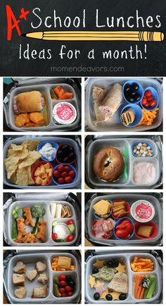 A month of kid-approved school lunches - easy  creative ideas! Plus, links to printable lunch box notes  supplies! -via momendeavors.com