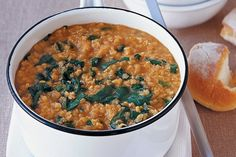 A hearty vegetarian soup packed with spinach and red lentils. Serve with warm crusty rolls.