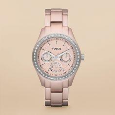 fossil - stella boyfriend aluminum watch - Blush