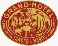 Grand Hotel Tanger Maroc Luggage Label