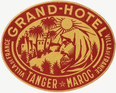 Grand Hotel Tanger Maroc Luggage Label