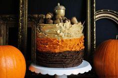 Ruffled Golden Acorn Cake with recipe & tutorial