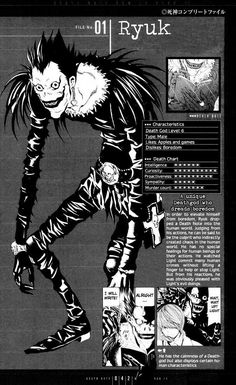 Shinigami Ryuk - Death Note (yeah you could say that he is the one responsible for the story of Death Note (in-universe), of course out-universe we have Tsugumi Ohba and Takeshi Obata) L Death Note, Death Note Near, Japon Illustration, Manga Covers, Animes Wallpapers, Aesthetic Anime, Poster Prints, Wall Prints, Notes