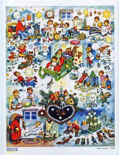 Lebkuchenherz Adventskalender Großformat Fritz Baumgarten Silberglimmer Reprint