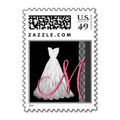 BLACK WHITE PINK Wedding Dress Monogram Stamps. It is really great to make each letter a special delivery! Add a unique touch to invites or cards with your own photos or text. Just click the image to learn more!