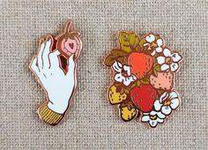 Strawberry Picker Pack // Set of Two Cloisonne Hard Enamel Rose Gold / Copper Lapel pin // Strawberry Enamel Pin // Hand Enamel Pin Cute Patches, Pin And Patches, Pin Art, Cute Fashion, Fall Fashion, Fashion Clothes, Fashion Trends, Cool Pins, Metal Pins