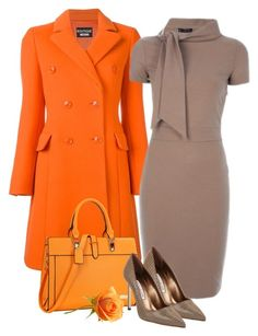 """""""Orange Coat"""" by danewhite ❤ liked on Polyvore featuring Boutique Moschino, Elie Saab, Manolo Blahnik and Dasein"""