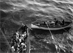 Titanic survivors approach the ship Carpathia