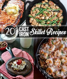 Cast iron skillet recipes are great for quick meals that the family will love! Pick from these 20 recipes to get started on your cast iron skillet dinner. 20 Cast Iron Skillet Recipes The Family Wi… Cast Iron Skillet Cooking, Iron Skillet Recipes, Cast Iron Recipes, Skillet Dinners, Skillet Food, Skillet Pan, Dutch Oven Cooking, Real Cooking, Cast Iron Dutch Oven