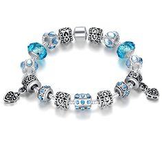 Wostu Thanks Giving Geschenk 925 Silber überzogene Charme-Armband für Frauen mit blauen Kristall-Perlen und tibetanische Silber-Charme DIY Schmuck - http://schmuckhaus.online/wostu/wostu-thanks-giving-geschenk-925-silber-charme