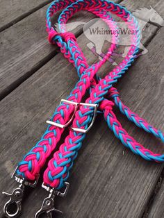 Turquoise, Raspberry and Neon Pink braided reins. Custom order at www.whinneywear.com Horse tack, barrel racing