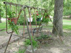 I knew I should have kept the swing set. Backyard Patio, Backyard Ideas, Garden Ideas, Woodland Garden, Garden Planters, Dream Garden, Yard Art, Container Gardening, Outdoor Gardens