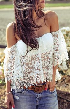 Off shoulder lace top // buy hereand here