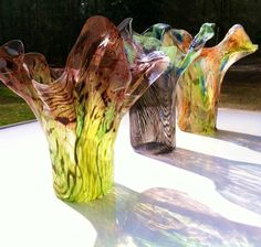 Muli-Colored Vases made from recycled water bottles --YOU pick 4 colors --hand shaped molded by oceanarts10