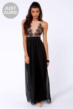Sexy Black Dress - Lace Dress - Maxi Dress - $50.00