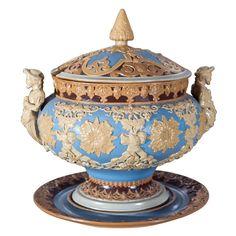 Monumental Stoneware Villeroy & Boch Mettlach Punch Bowl Tureen