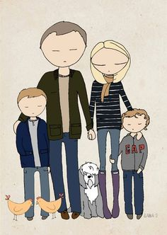 Family portrait, bespoke family portrait, custom illustration