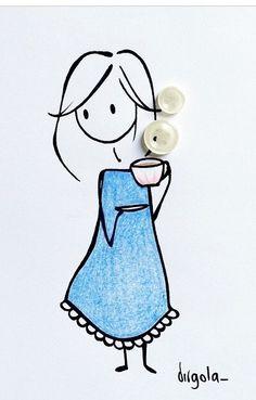 Hot Coffee (or tea) Illustration: Virgola by Virginia Di Giorgio