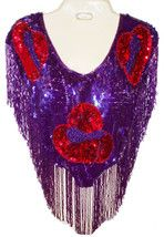 Sequin Beaded Scarf, Wrap ~ Red Hats