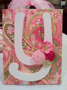 Fabric and canvas backed wood letters.