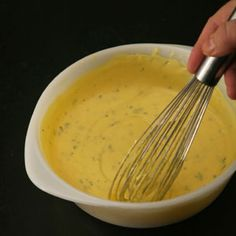 Bearnaise Sauce, the classic french sauce brings together emulsified butter, egg yolks and herbs
