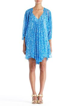 DVF | Fleurette Dress in fleck blue, Resort 2012/13: Zoom