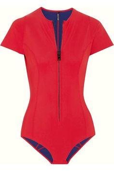 Lisa Marie Fernandez short-sleeve red one-piece neoprene swimsuit. Love! Love! Love!