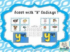 """An addition to your vowel teams scoots... Y at the end of the word and sounds like """"e"""" or """"i"""". This scoot packet has 20 task cards, 2 types of answer sheets and a teacher answer key.In this set, the kids read the words below the picture, and decide what sound the """"y"""" makes as a vowel.Please send any questions forth if you have them.Enjoy !Ms."""