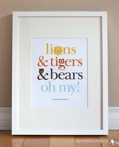 "SUCH a cute theme for a nursery!! Wizard of Oz or ""Lions & Tigers & Bears""...Kids' Art Print by Flutter Flutter by Rosa Pearson Design"