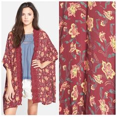 "HP 11/6  Eyelet Kimono Beautiful fall hues just welcomes the changing colors of the fall season. Pair this kimono with leggings/skinny jeans for those end of summer and beginning of fall temperatures. Delicate eyelet cutouts trace the front of this beautiful burgundy kimono, with fall colored floral print and a trendy shark-bite hem. Length is about 31"", 100% rayon, machine washable. Sizes: M/L=8-14. Sun & Shadow Jackets & Coats"