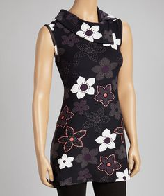 Take a look at this Purple & Black Blossom Sleeveless Dress by Papillon Imports on #zulily today!